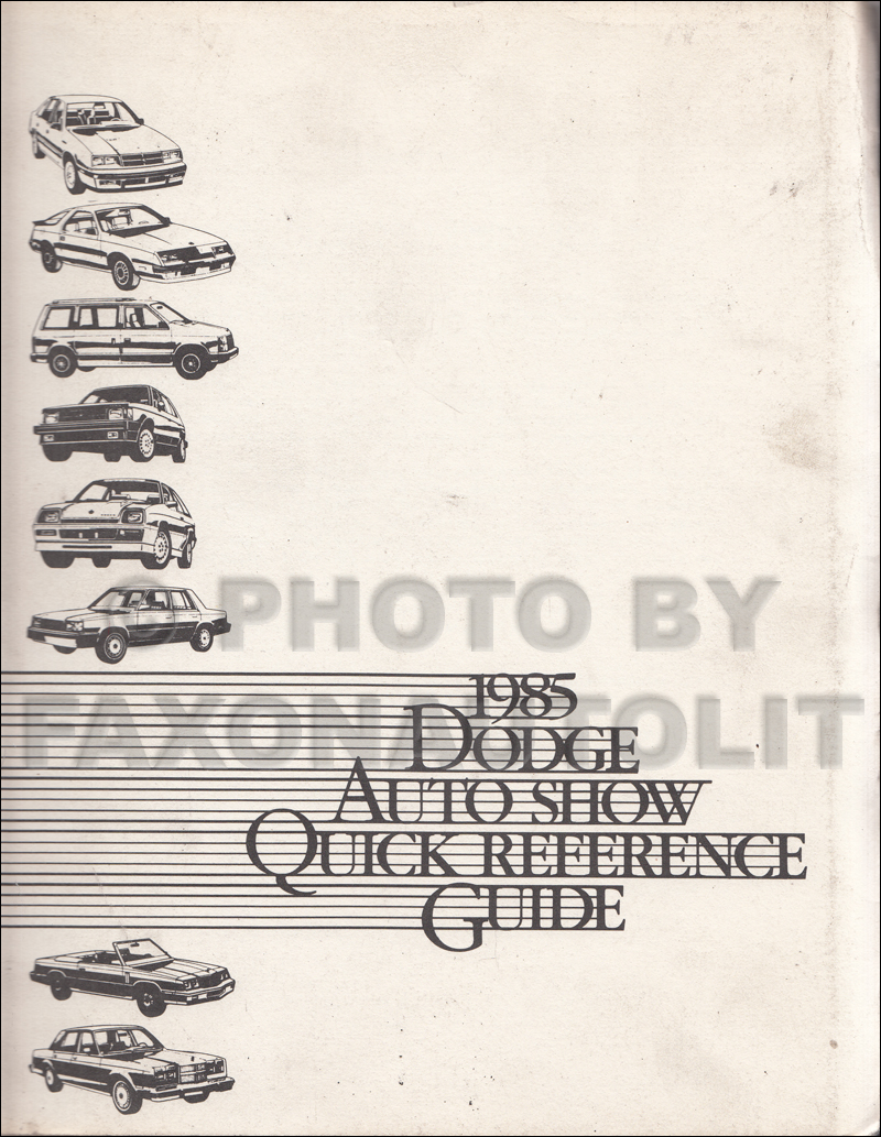 1985 Dodge Competitive Comparison Quick Reference Guide Original