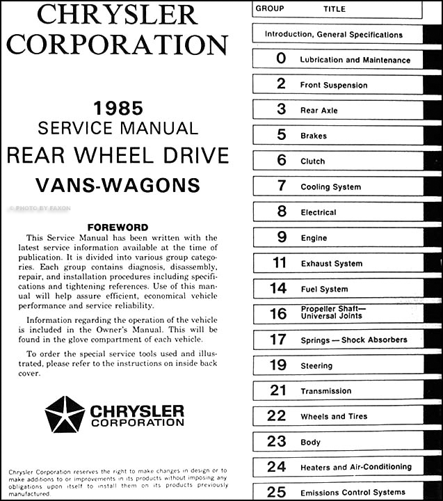 1985 Dodge Ram Van Wagon Repair Shop Manual Original B150 B350