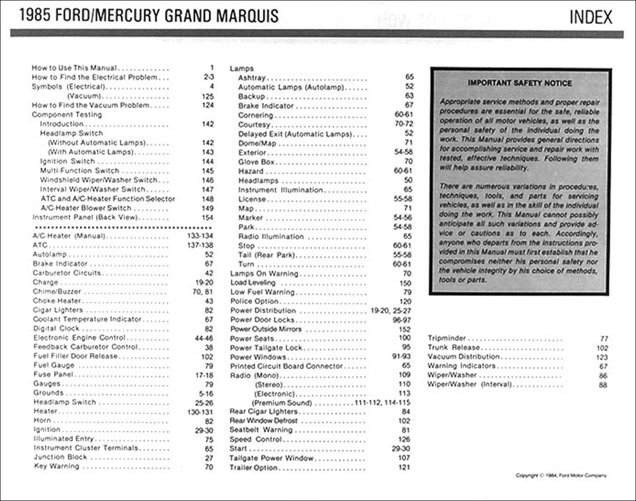 1985 Crown Victoria Grand Marquis Electrical Troubleshooting Manual Wiring Diagram Table Of Contents