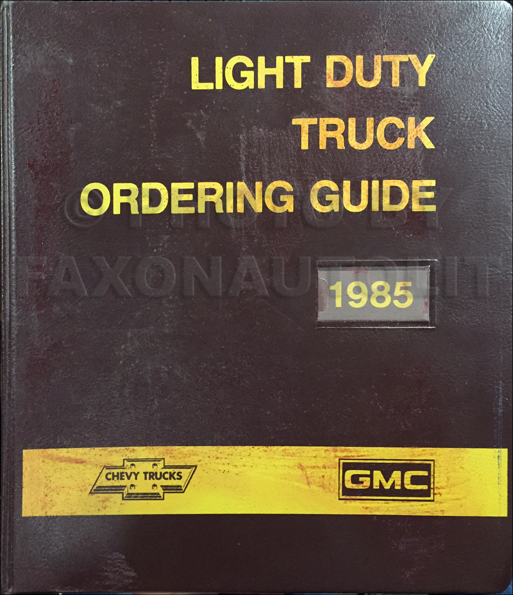 1985 GMC Chevy Light Duty Color & Upholstery Dealer Album/Data Book Original Canadian