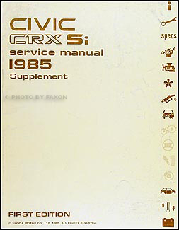 1985 Honda Civic CRX Si Repair Manual Original Supplement