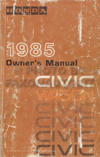 1985 Honda Civic Wagon Owner's Manual Original