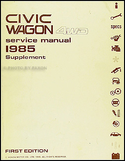 1985 Honda Civic Wagon 4WD Repair Manual Original Supplement
