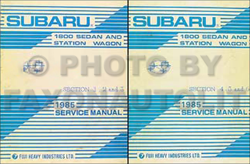 1985 Subaru 1800 Repair Manual Original 2 Book/6 Volume Set