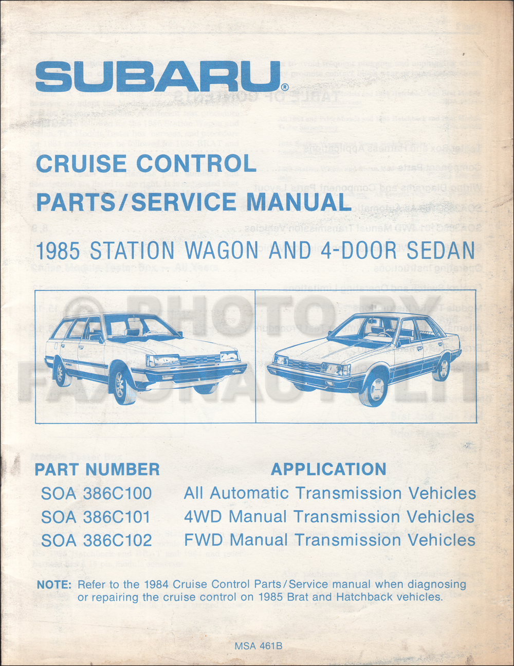 1986 Subaru Cruise Control Shop Manual Original
