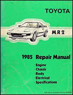 1985 Toyota MR2 Repair Manual Original