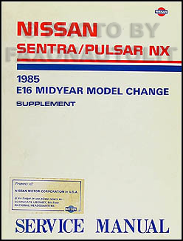 1985.5 Nissan Sentra & Pulsar NX Repair Manual Original Supplement