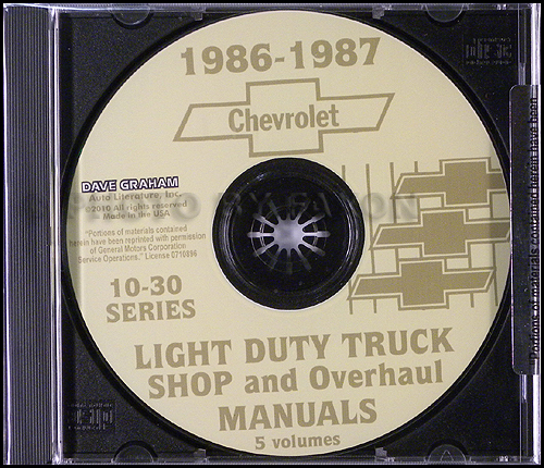 1986-1987 Chevrolet Truck Shop Manuals on CD Pickup Blazer Suburban Van