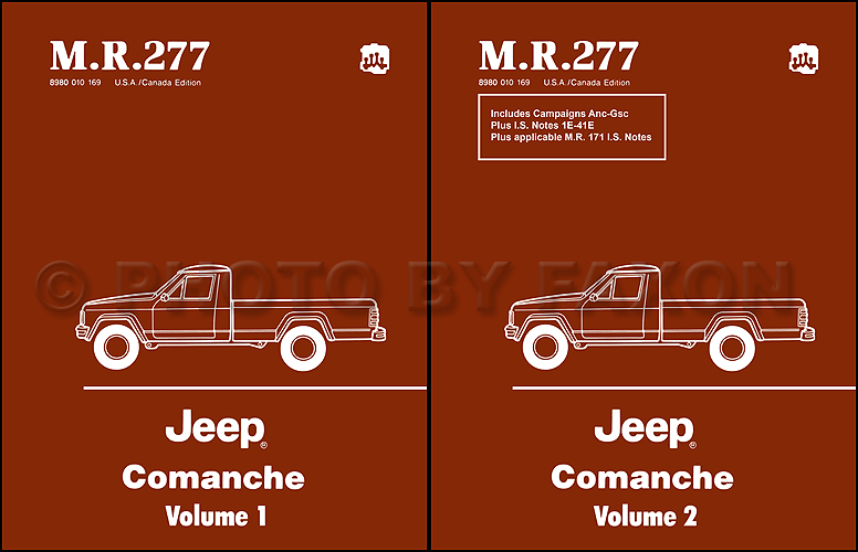 1986-1988 Jeep Comanche Shop Manual Set Reprint--M.R. 277