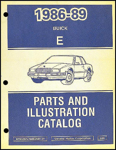 1986-89 Buick Riviera/Reatta Parts Book Original
