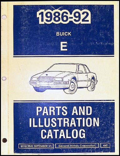 1986-1992 Buick Riviera Reatta Parts Book Original