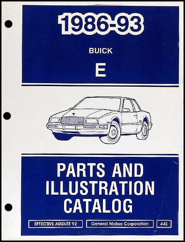 1986-1993 Buick Riviera/Reatta Parts Book Original