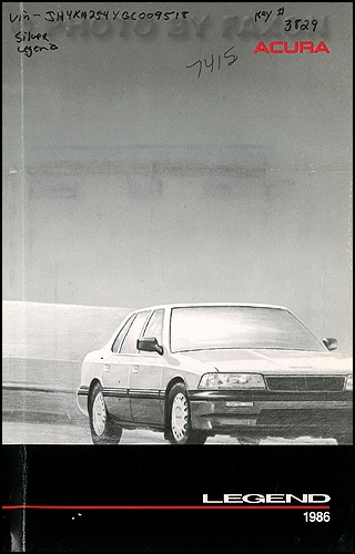 1986 Acura Legend Owners Manual Original