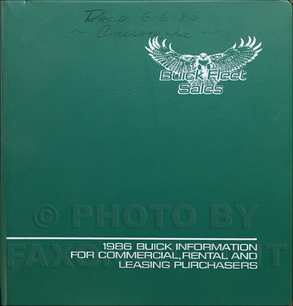 1986 Buick Fleet Buyers Guide Original