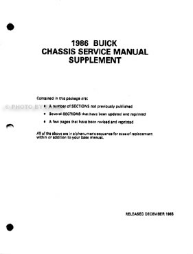 1986 Buick & Grand National Shop Manual Original Set