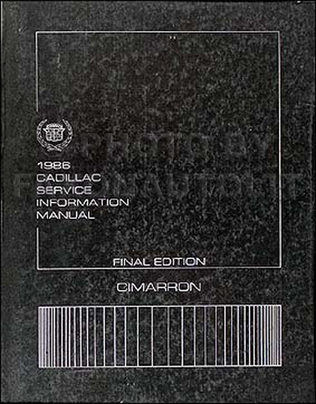 1986 Cadillac Cimarron Shop Manual Original 86