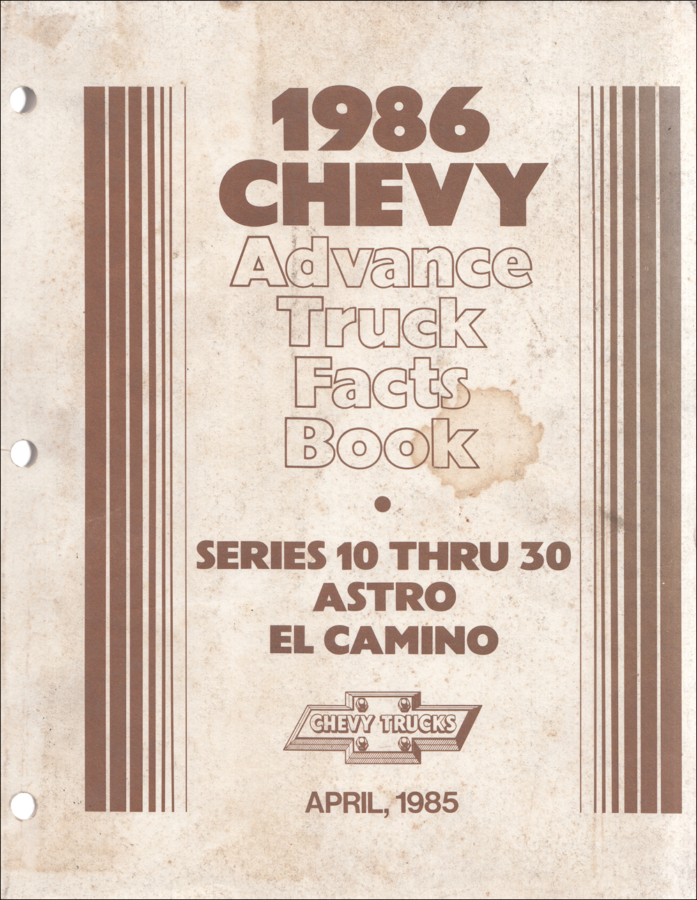 1986 Chevrolet 10-30 Truck Advance Facts Book Original Delaer Album