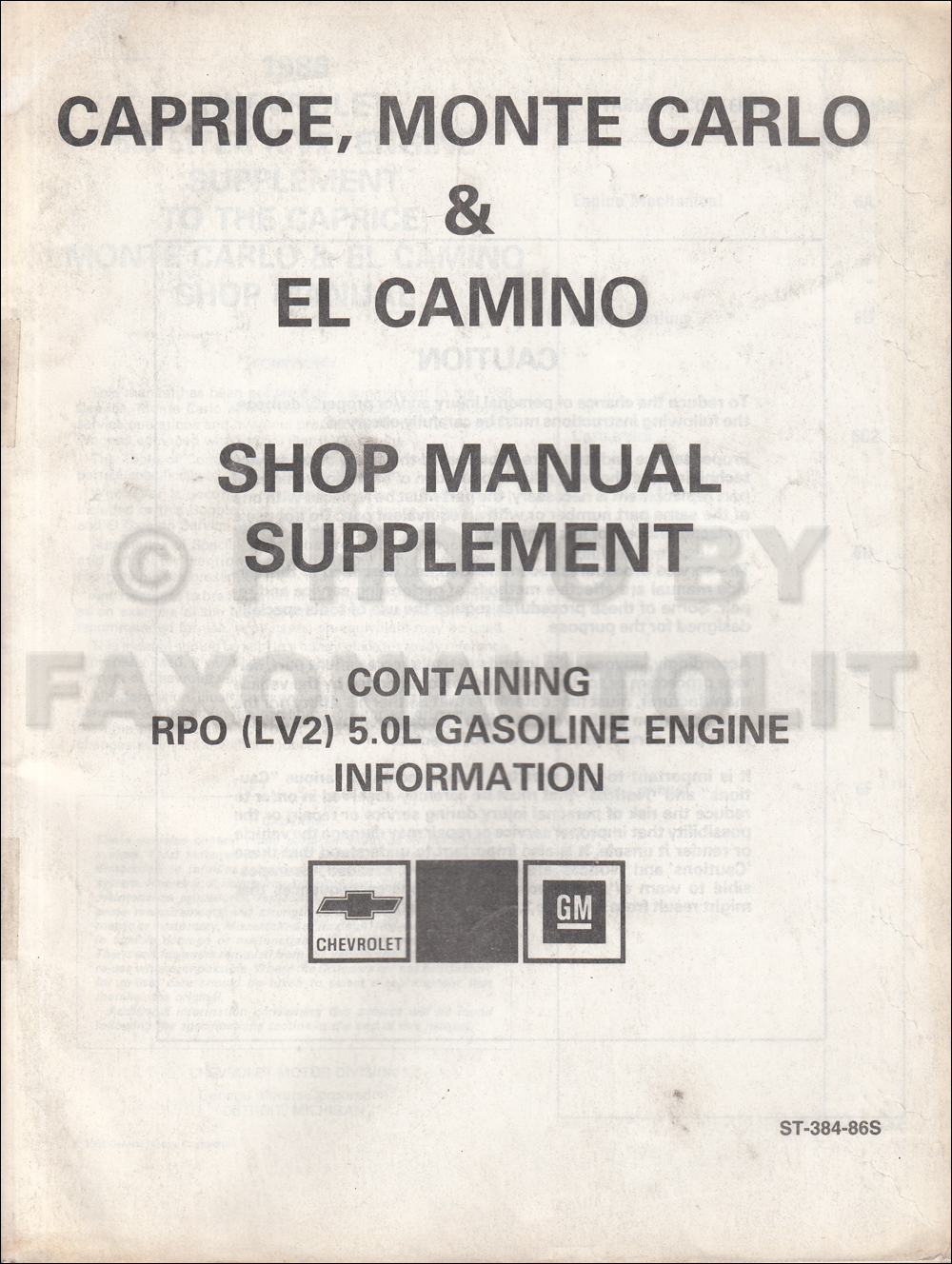 1986 Chevrolet Caprice Station Wagon Repair Shop Manual Original Supplement 5.0 Engine RPO LV2