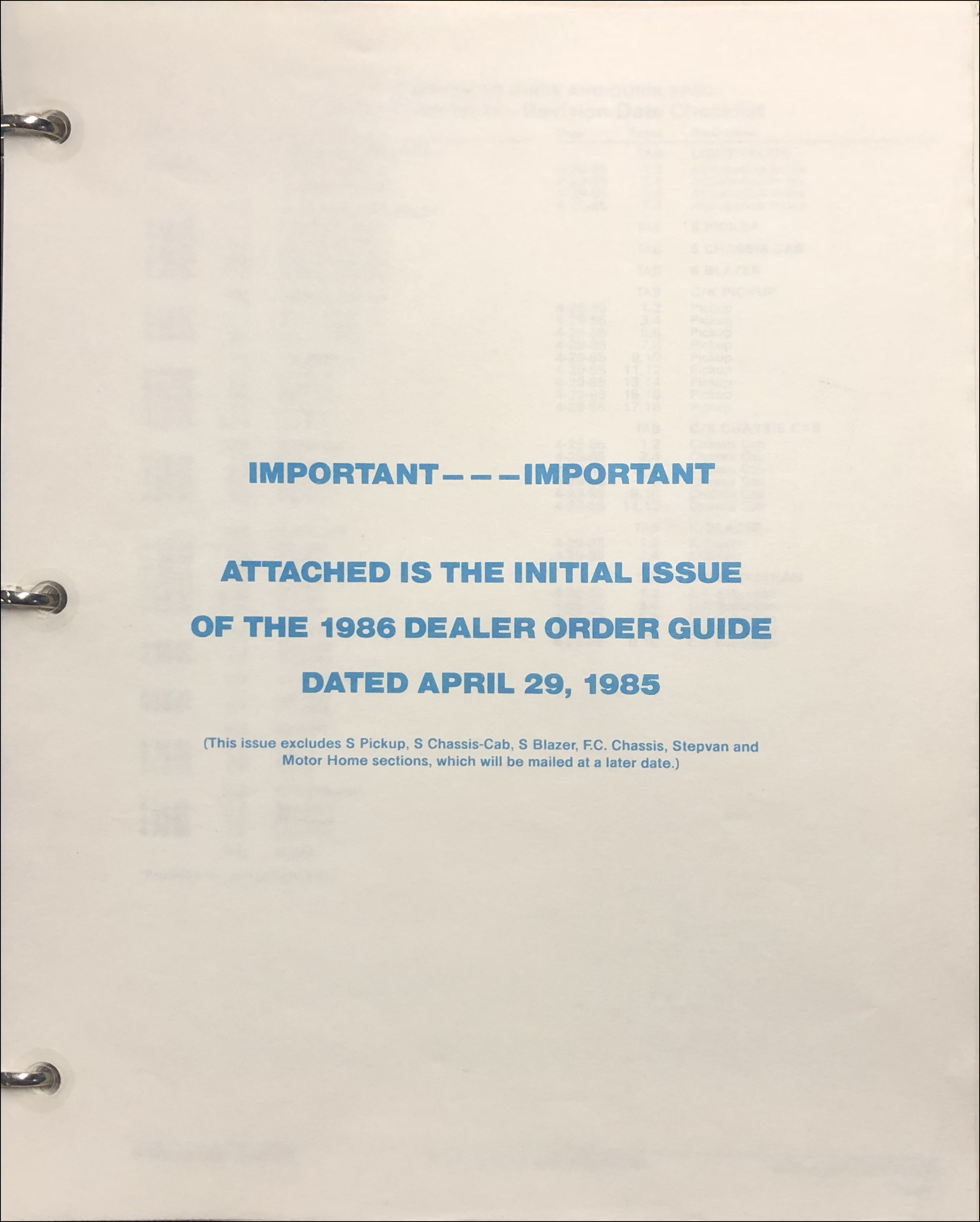 1986 Chevrolet Order Guide Initial Issue Dealer Album Original