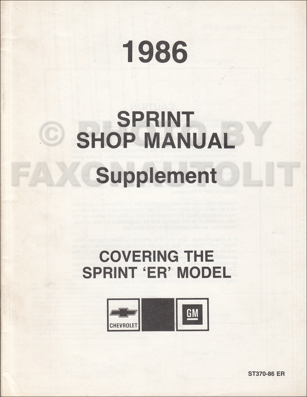 1986 Chevy Sprint ER Repair Shop Manual Original Supplement