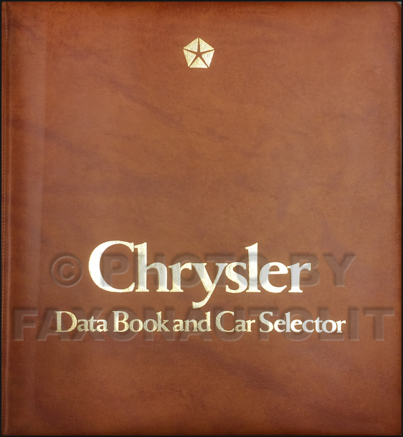 1986 Chrysler Data Book Original