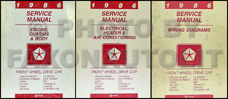 1986 MoPar FWD Car Repair Manual 3 Vol Set
