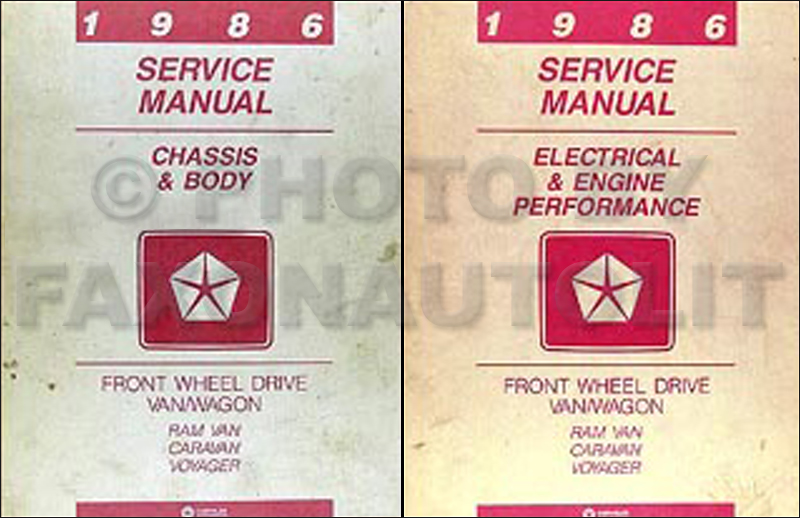1986 Caravan and Voyager Repair Manual Original 2 Volume Set