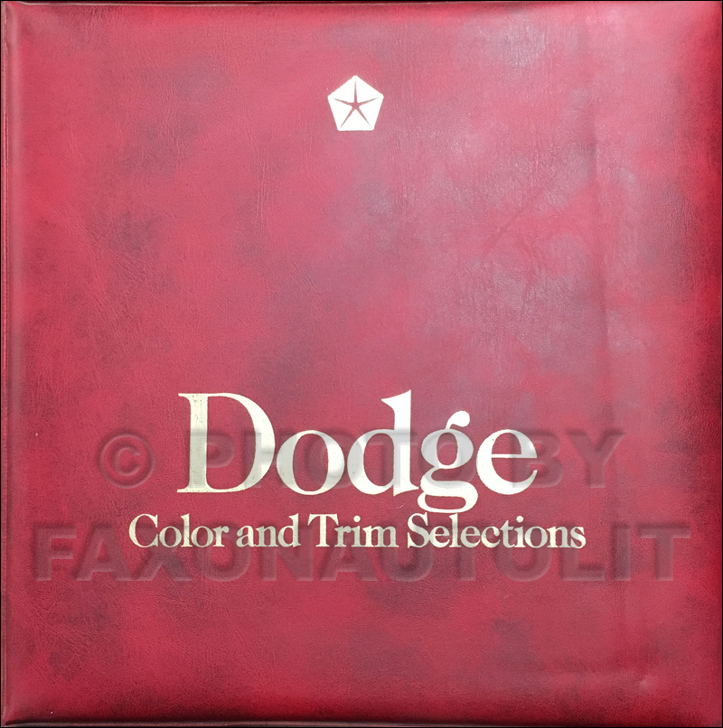 1986 Dodge Car Color & Upholstery Album Original