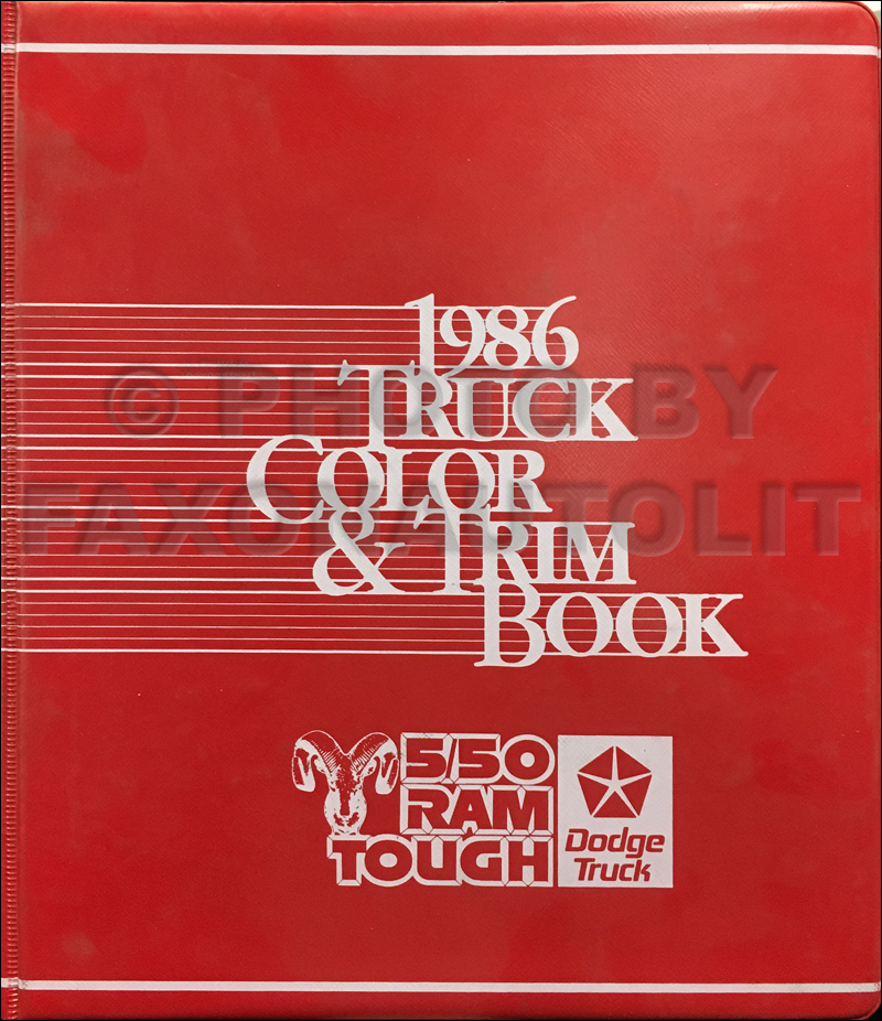1986 Dodge Truck Color & Upholstery Album Original