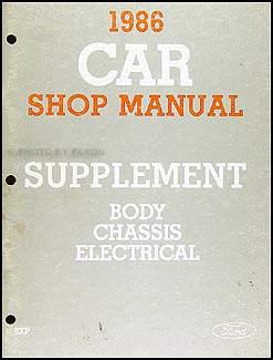 1986 Ford EXP Repair Manual Original Supplement
