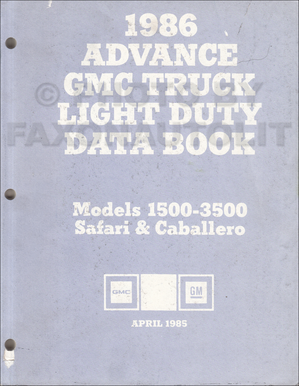 1986 GMC Advance Light Duty Data Book Original