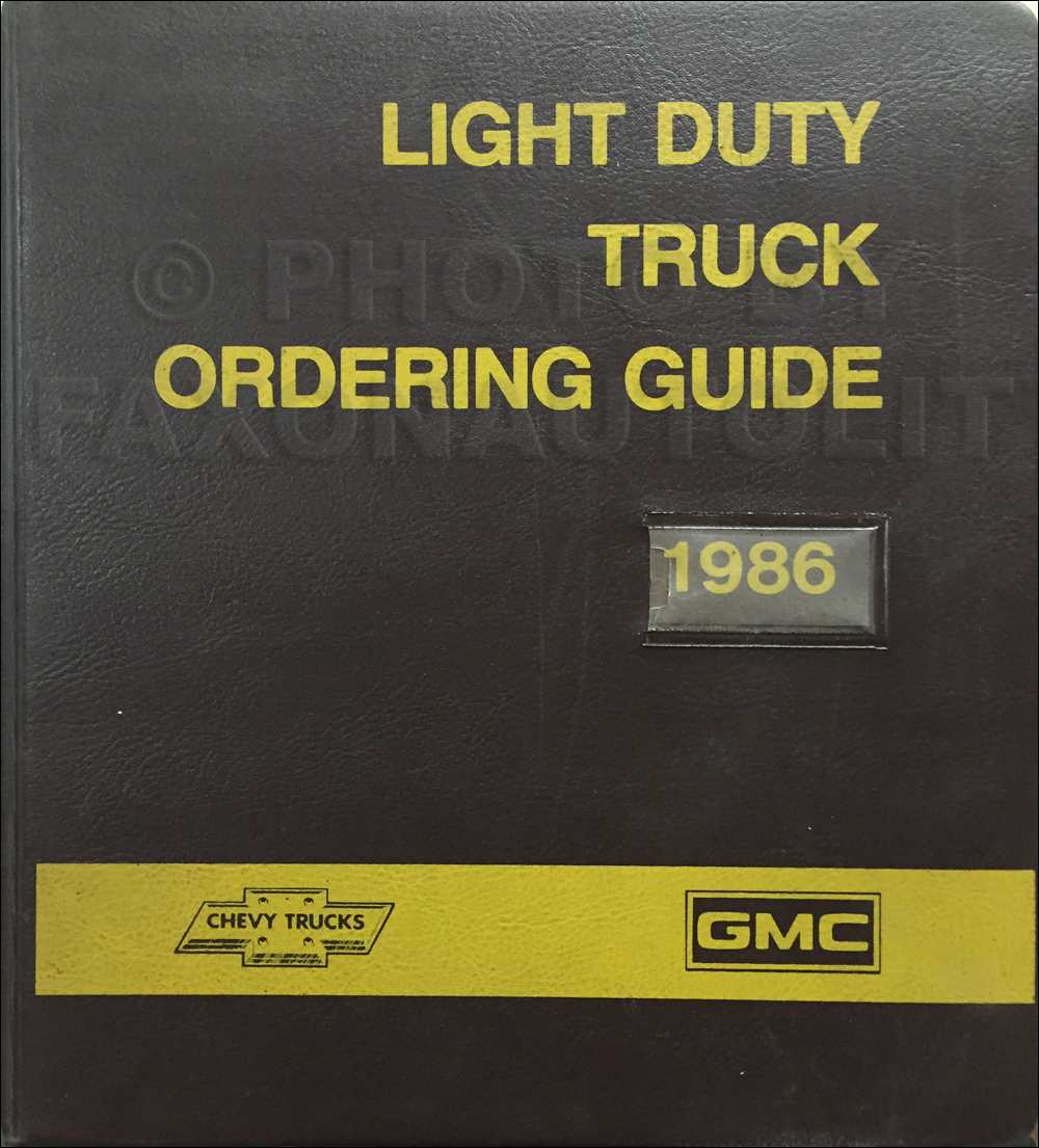 1986 GMC Chevy Light Duty Color & Upholstery Dealer Album/Data Book Original Canadian