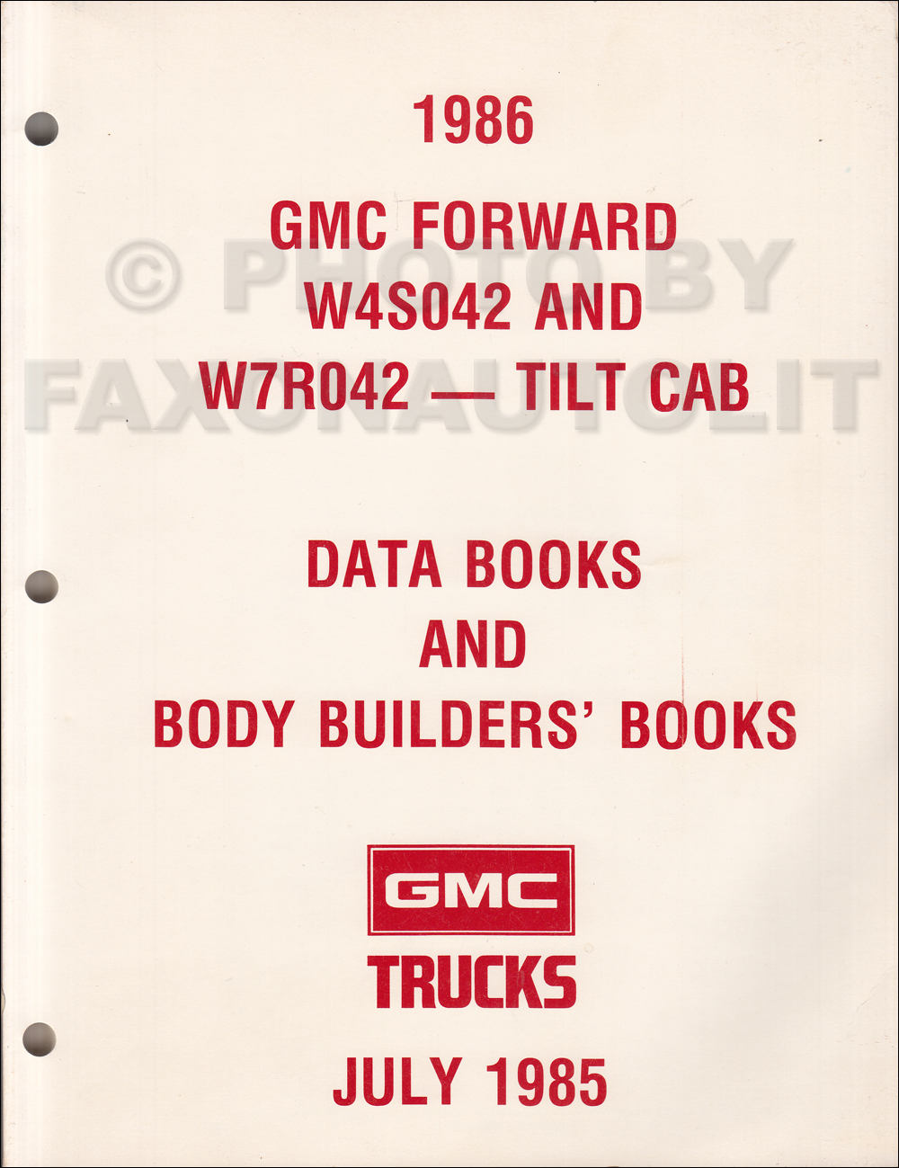 1986 GMC W4 & W7 Data Book Dealer Album & Body Builder's Book Original