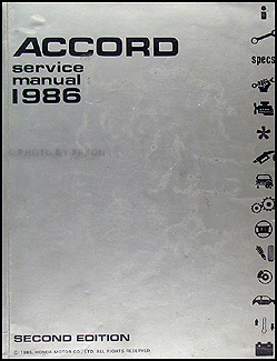 1986 Honda Accord Repair Manual Original