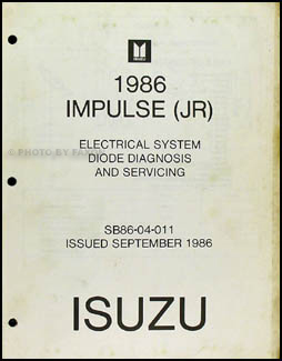 1986 Isuzu Impulse Electrical System Diode Diagnosis and Repair Shop Manual