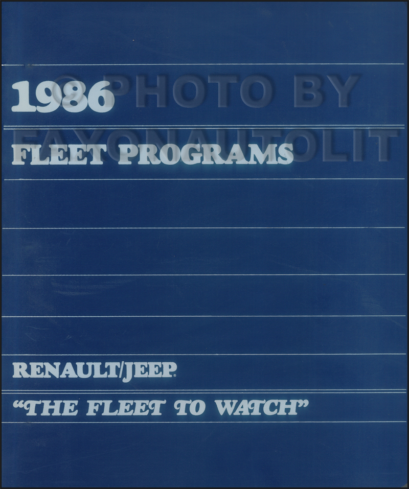 1986 Jeep AMC Renault Fleet Programs Facts Book Original