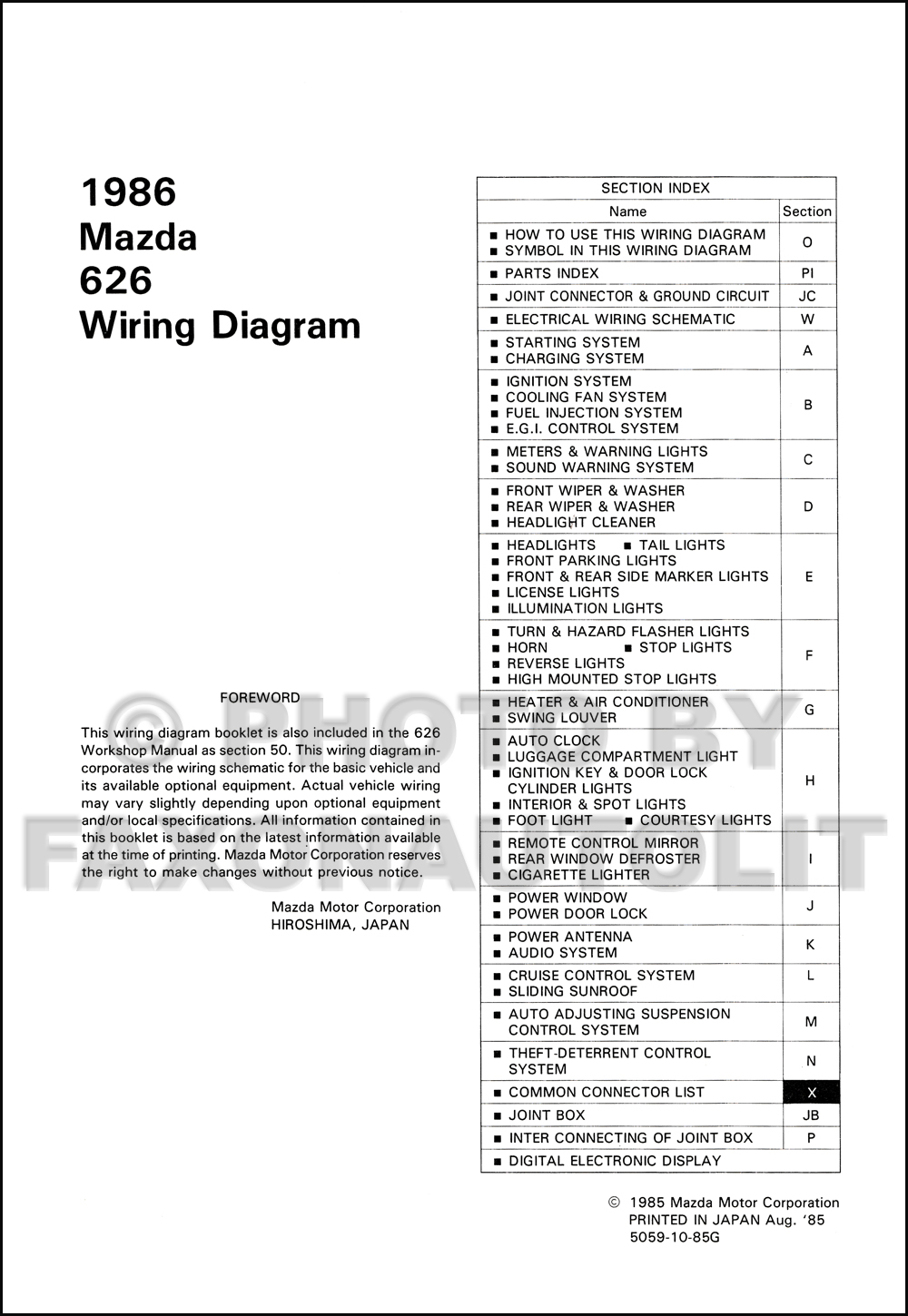 1986 Mazda 626 Wiring Diagram Manual Original. click on thumbnail to zoom