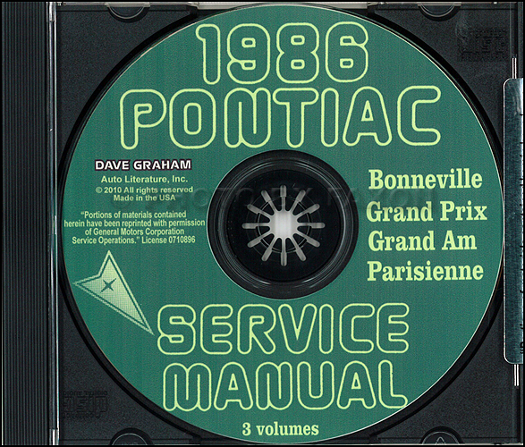 1986 Pontiac Repair Shop Manual and Body Manual on CD-ROM Grand Prix Am Parisienne Bonneville