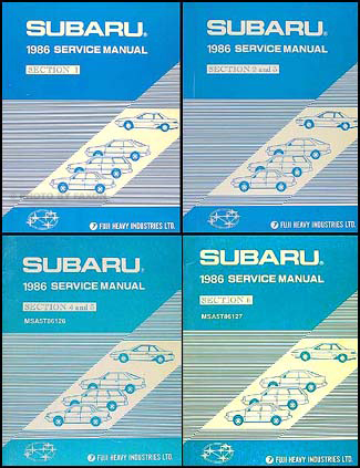 1986 Subaru Repair Manual 4 book/ 6 Volume Set Original