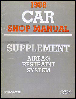 1986 Ford Tempo/Topaz Airbag Manual Supplement Original