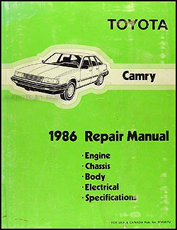 1986 Toyota Camry Repair Manual Original