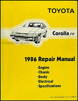 1986 Toyota Corolla RWD Repair Manual Original