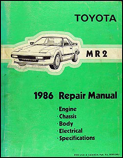 1986 Toyota MR2 Repair Manual Original