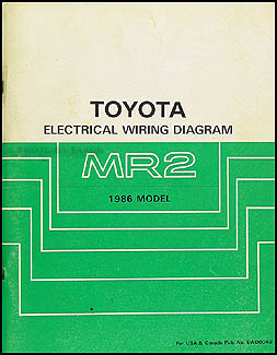 1986 Toyota MR2 Wiring Diagram Manual Original