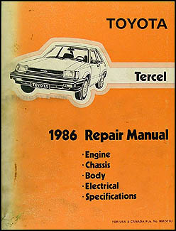 1986 Toyota Tercel Repair Manual Original