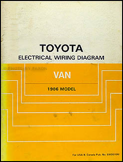 1986 Toyota Van Wiring Diagram Manual Original