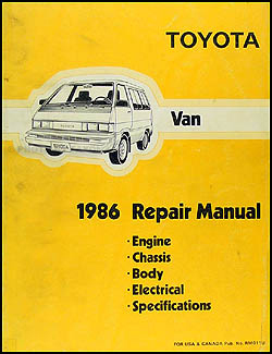 1986 Toyota Van Repair Manual Original