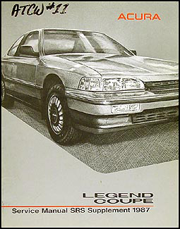 1987 Acura Legend Coupe SRS Airbag Shop Manual Original Supplement