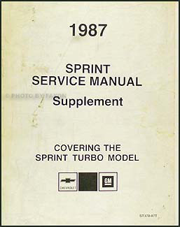 1987 Chevy Sprint Turbo Repair Shop Manual Supplement