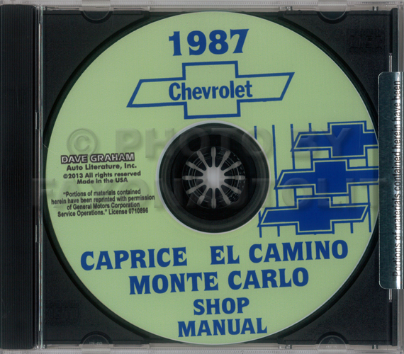 1987 Chevrolet Shop Manuals CD Caprice Monte Carlo El Camino GMC Caballero
